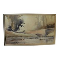 Vintage signed impressionist watercolor painting of English lake