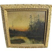 B J HARNETT (1847-1914) American Tonalist landscape sunset over the lake