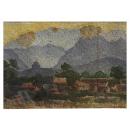 "Mexican 1909 watercolor painting ""Monterrey"" signed A. Hoeck"