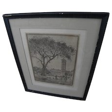BEN MESSICK (1891-1981) California art vintage rare etching by noted Regionalist artist and instructor