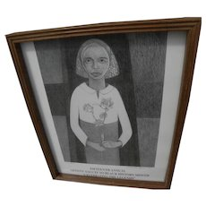 SAMELLA LEWIS (1924-) African-American art pencil signed small exhibition poster by the noted black artist and art historian