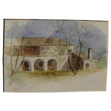 "St. Augustine Florida 1881 watercolor painting ""Old Spanish House"""