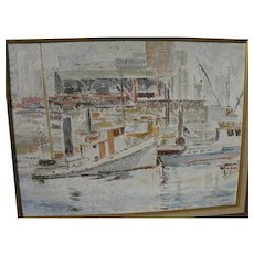 Canadian art impressionist 1964 vintage painting of Vancouver harbor signed H. Douglas