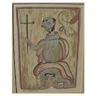 """LOUIE EWING (1908-1983) New Mexico art silkscreen print """"San Geronimo"""" by Santa Fe artist"""