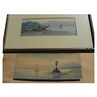 Vintage pre-war Japanese watercolor landscape paintings
