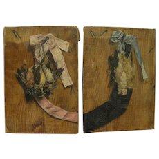 19th century art signed PAIR of still life paintings of songbirds