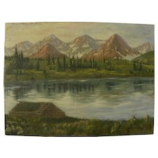 Vintage Colorado art signed painting of the Needle Mountains in Silverton