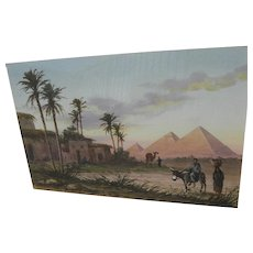 DAVID VASSILIOU (20th century) watercolor painting of the Pyramids in Egypt by listed artist