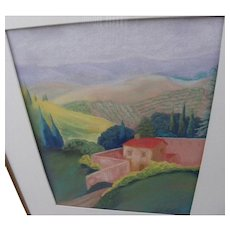 Italian Tuscany hill country San Gimignano original pastel drawing by contemporary artist