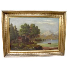 Nineteenth century American primitive Hudson River style painting in original gold frame
