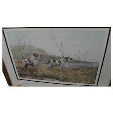 LEON DANCHIN (1887-1938) pencil signed aquatint print of dogs by noted French artist