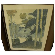ABEL PANN (1883-1963) Jewish art pencil signed lithograph by important Israeli artist