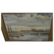 JOHN MORTIMER (English, 20th century) watercolor painting small boats in a coastal inlet by listed artist