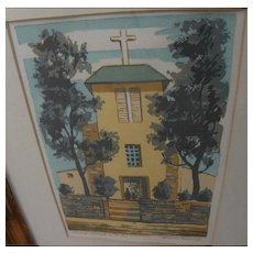"LOUIE EWING (1908-1983) New Mexico art silkscreen print ""Oldest Church in U.S.A."" by noted Santa Fe artist"