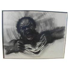 JON ONYE LOCKARD (1932-2015) expressionistic charcoal drawing by noted African-American artist