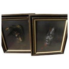 JON ONYE LOCKARD (1932-2015) two pastel portrait drawings by noted African-American artist