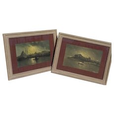 Istanbul Turkey PAIR of 1925 signed drawings views of the Bosphorus by Russian artist Azaroff