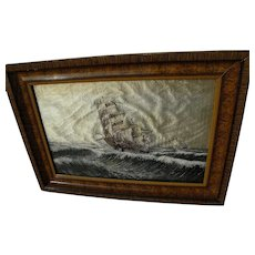 Silk needlework hand made embroidery picture of clipper ship on the high seas