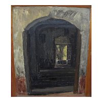 EDUARDO VILLANUEVA 1957 oil painting of shaded corridor in Mexico