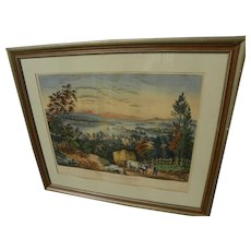 """Rare Currier and Ives hand colored original large folio lithograph print """"Lake Winnipiseogee from Centre Harbor, N.H."""""""