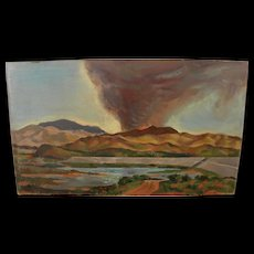 BROOKS PETTUS (1918-2003) Southwest landscape painting dated 1962 by noted artist