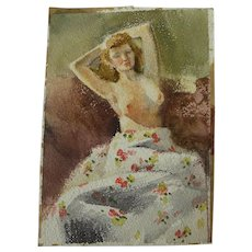 Double-sided watercolor painting likely by noted western American artist BROOKS PETTUS (1918-2003)