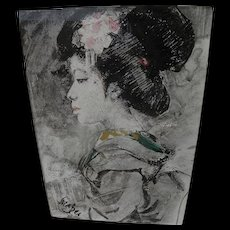 ROLAND STRASSER (1895-1974) painting of Japanese Geisha by important Austrian artist