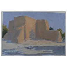 """MARION """"MAL"""" LEWIS (1925-2010) painting of famous Taos New Mexico church by Montana artist"""