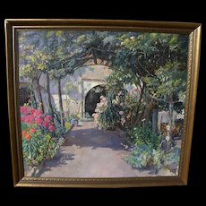 JOSE SANZ Y ARIZMENDI (1885-1929) impressionist 1928 painting of Swiss garden by well listed Spanish artist