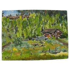 DOROTHY C. NEAL (20th century American) 1952 impressionist oil painting of southern Utah aspen forest landscape