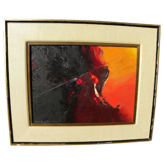 EARL DANIELS (1920-1999) mid century abstract painting by noted California artist and instructor