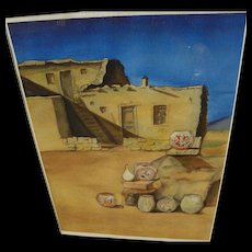 New Mexico art original watercolor drawing of a pueblo with traditional pots outside