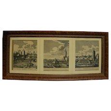 Three circa 1700 engravings of European city scenes likely German