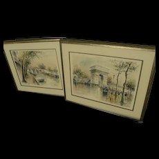 PAIR Mid Century Paris watercolor original paintings signed VAN LOD
