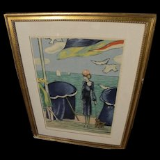 JEAN-PIERRE CASSIGNEUL (1935-) color lithograph elegant ladies by the sea