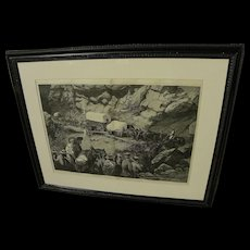 """Harper's Weekly May 1875 original large wood engraving print """"On the Way to the Diggings"""""""