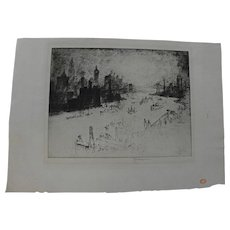 "JOSEPH PENNELL (1860-1926) fine etching ""New York, From the Williamsburg Bridge"""