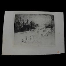 """JOSEPH PENNELL (1860-1926) fine etching """"New York, From the Williamsburg Bridge"""""""