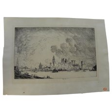 "JOSEPH PENNELL (1860-1926) fine etching ""New York, From Brooklyn"""