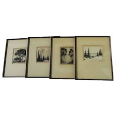 HAROLD LUKENS DOOLITTLE (1883-1974) **four** etchings and aquatint prints of California landscapes