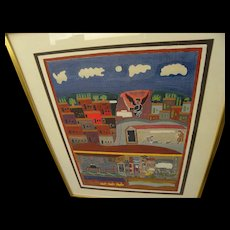 SHALOM OF SAFED (1895-1980) pencil signed lithograph by well known Jewish naive artist
