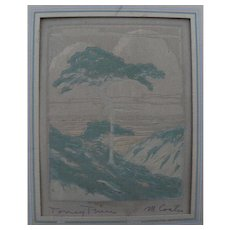 "California art unusual circa 1940 print ""Torrey Pine"" by artist M. Coates"