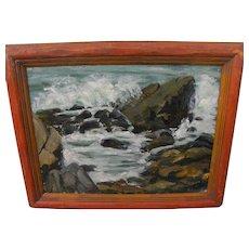 Impressionist vintage California painting of coast rocks and waves signed