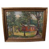 "RALPH LANDSMAN (c. 1890-1960) impressionist landscape painting ""The Red Bungalow"" by American east coast artist **STOLEN**"
