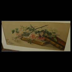 BERTHA TOWNSEND COLER (1865-1948) vintage watercolor still life painting of roses by listed California woman artist