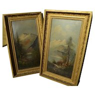 PAIR circa 1885 oil landscape paintings signed A. A. Baker