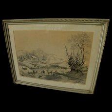 """CURRIER & IVES 1940's restrike print of popular """"American Winter Scenes"""" ice skating"""
