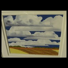 CHARLES HOWARD SANDERSON (1925-1993) original gouache painting of clouds over a Midwest landscape