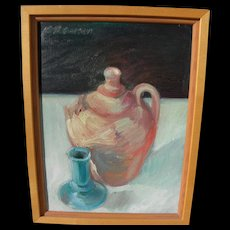 Contemporary impressionist American still life painting signed K Petersen