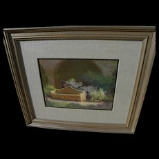 KAY BONANNO (1935-) impressionist pastel drawing of Mission San Juan Capistrano courtyard by California Art Club artist